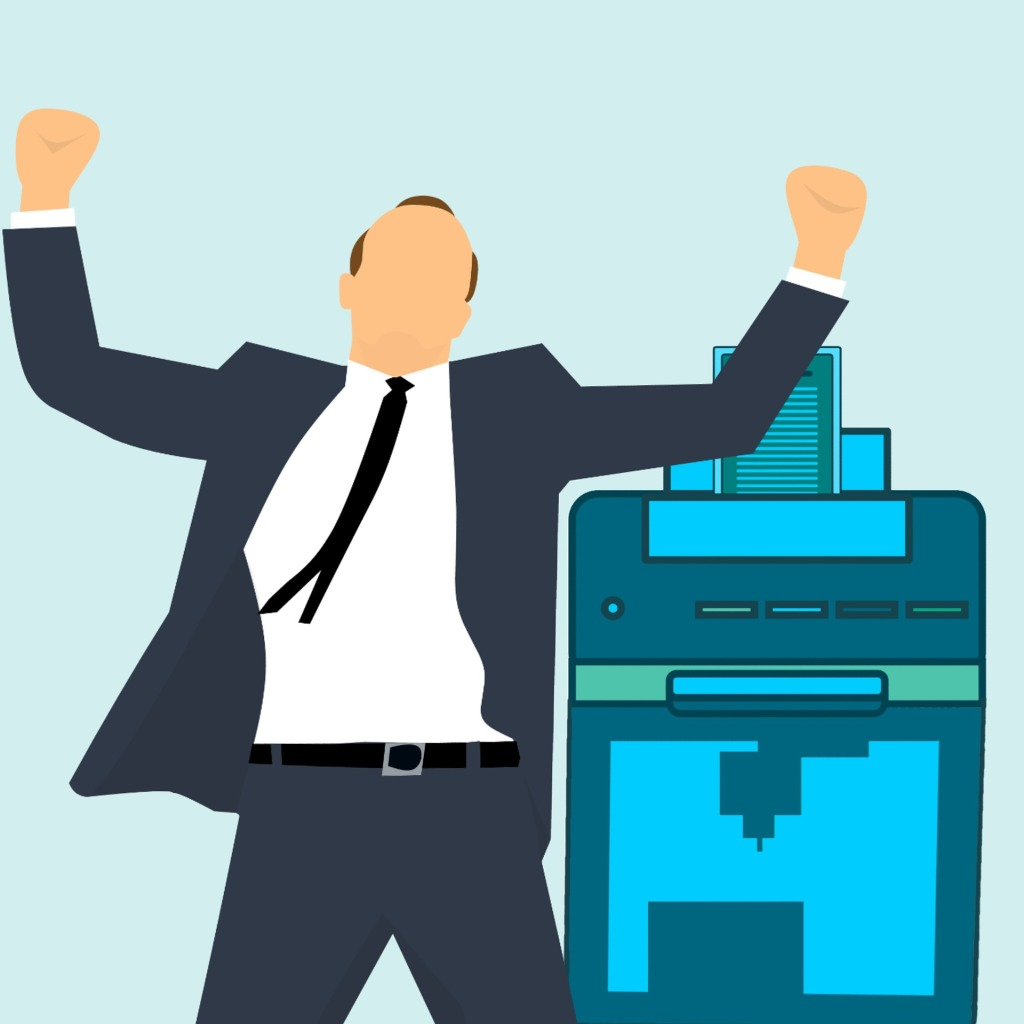 Success with blue printer business man gets it done in celebration. Teal blue background