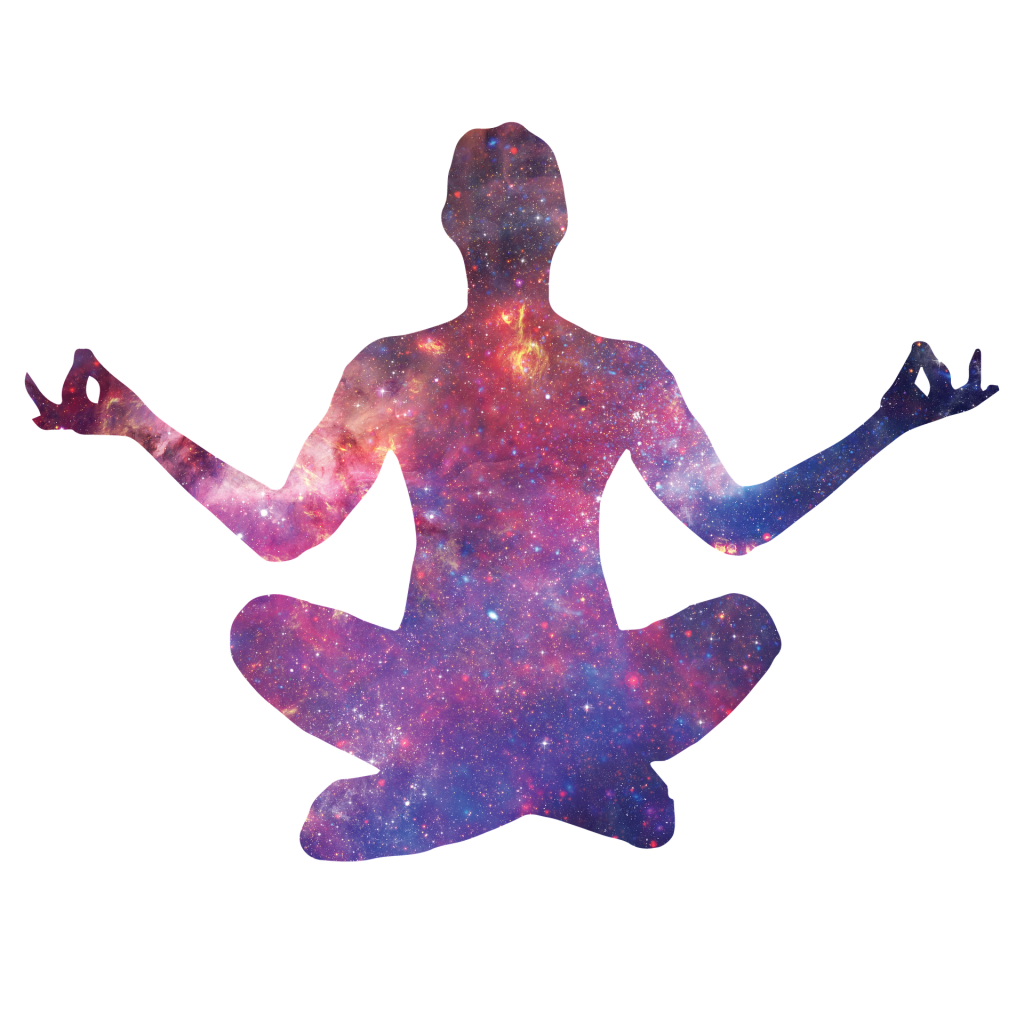 Meditation reflection relaxation finding nirvana yoga stance starlight female beauty openness space stars and constellations